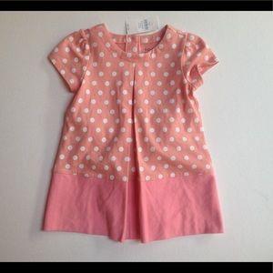 Baby gap girls orange and white polkadot dress